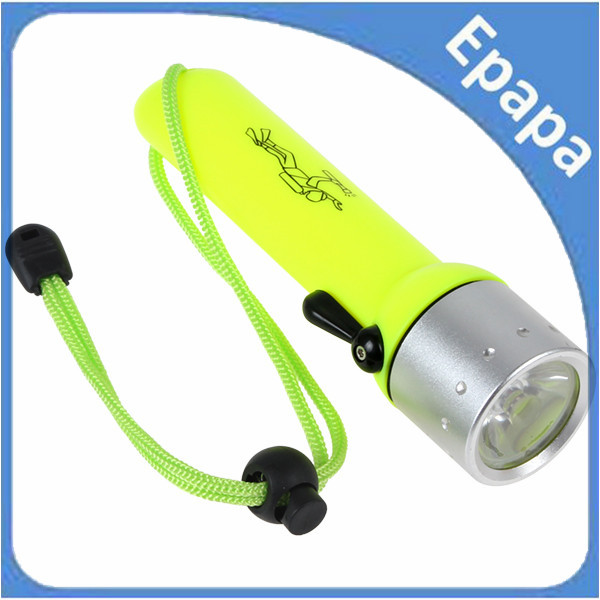 Waterproof 180LM 3W CREE Q3 LED Diving Flashlight Light Yellow with 20M Diving Depth(China (Mainland))