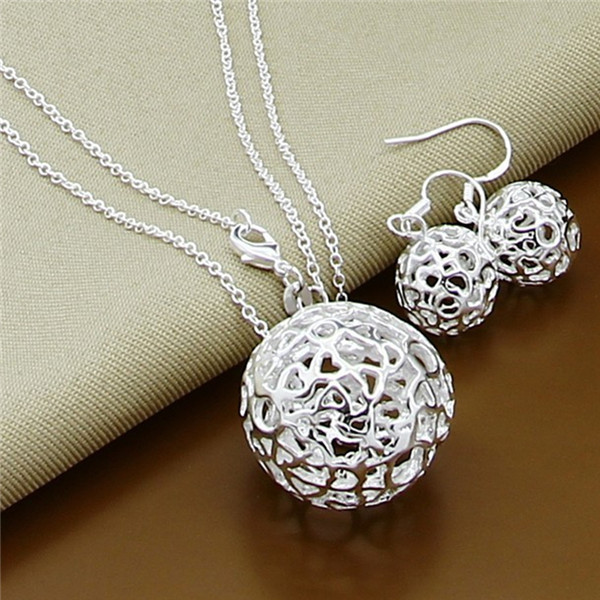 Fashion Dubai Jewelry Sets,Top quality Hollow ball, Men,Women charm 925 sterling silver jewelry set,wholesale fine jewelry T073(China (Mainland))