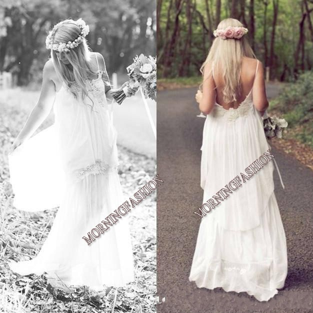 2014 Boho Cheap Spaghetti Beach Wedding Ball Dresses Bohemian Vintage Beach Sexy Long Party