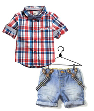 2016 Europe style boy's clothing set short-sleeves plaid shirt + supender jeans casual clothes for summer(China (Mainland))