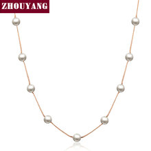Buy Top Lady Imitation Pearl Rose Gold Color Chains Necklace Jewelry Wholesale ZYN251 ZYN461 ZYN589 for $1.41 in AliExpress store