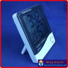 Hot sale!! New LCD Digital Thermometer Temperature Humidity Meter Hygrometer Clock HTC-1 free shipping Dropshipping