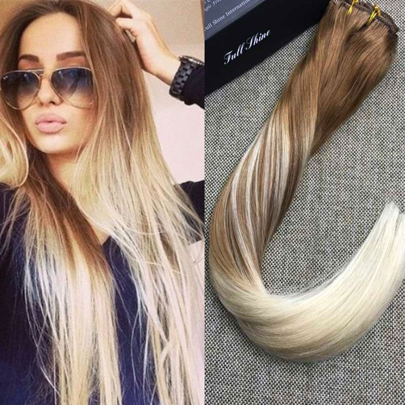 Full Shine 10 Pcs Clip in Hair Extensions Brazilian Remy Human Hair Blonde Balayage Color 12 Fading to 60 Full Head Clip Ins
