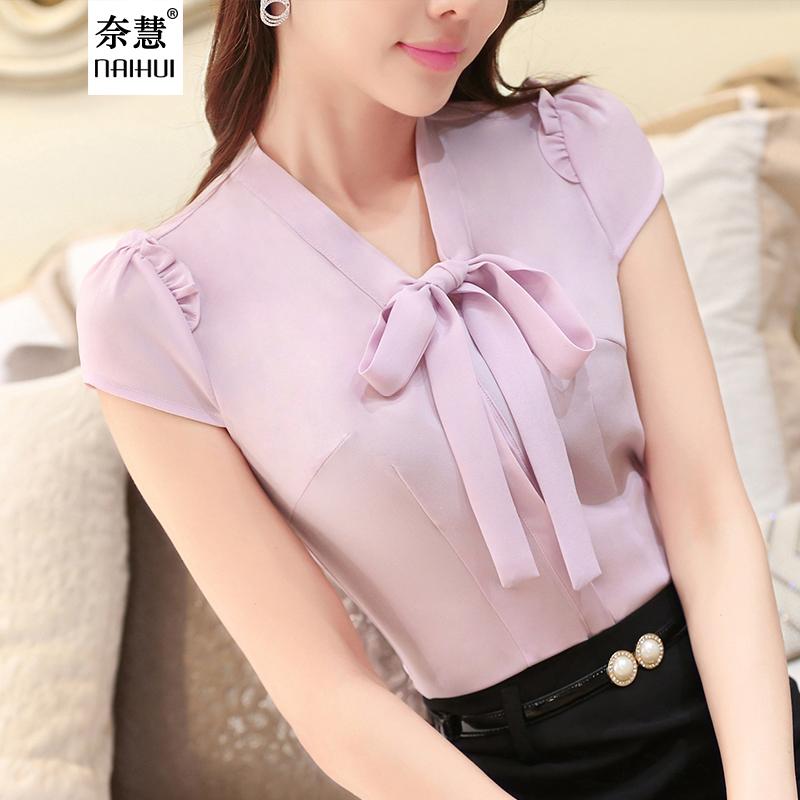 Korean Fashion style Plus Size Women Blouses 2016 Bow Ties Short Sleeve Blusas Solid Slim Women Shirt Purple orange white Tops(China (Mainland))