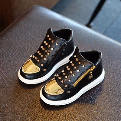 Fashion Unisex Boy Girls Sneakers Gold Color Round Toe Design Rivets Studded High Top Style Children Shoes Black White Red