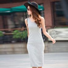 Хлопковая футболка Платья Летние женские длинные футболки платье женское облегающее платье на бретелях женские черные серые с коротким ру...(China)