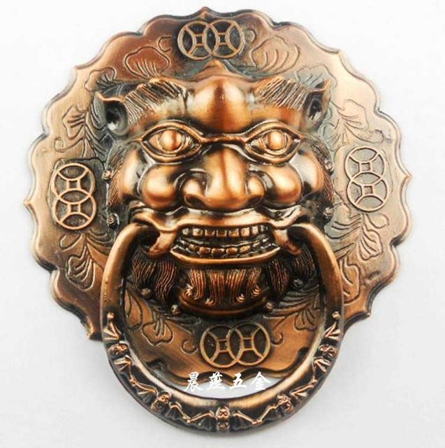 Cheap Antique lion head door knocker handle Chinese unicorn beast Grip diameter 12cm/14cm