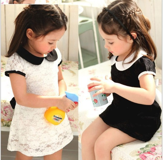 (5 pieces/lot) kids girl dress 2-6age beautiful white black lace girls princess cotton children clothing - Angela-Baby Store store