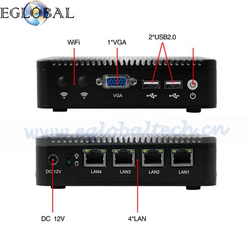 Eglobal Barebone mini pc J1900 Quad core 4 LAN 1080P 12V Mini Desktop Computer 1*VGA Free Shipping(China (Mainland))