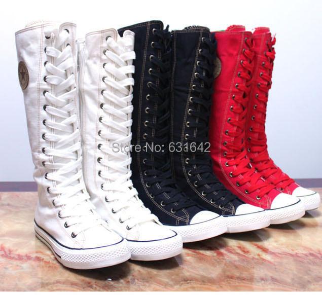 fashion canvas boots cheap knee high quality