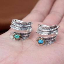 Такахаси горо бирюзовый перо открытие любовь кольцо настоящее серебро 925 925 для мужчин или женщин обручальное кольцо GR89(China (Mainland))
