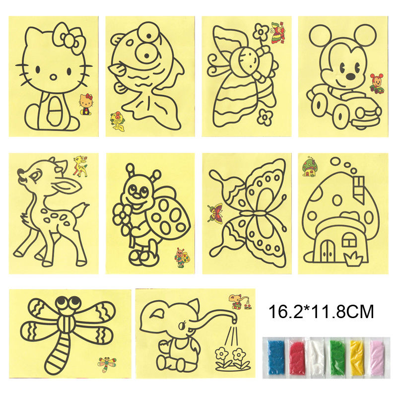 10pcs Children Drawing Toy DIY Cartoon Color Sand Painting 10 Patterns Kids Intelligence Education Tools Art sand Study Fun Toys(China (Mainland))