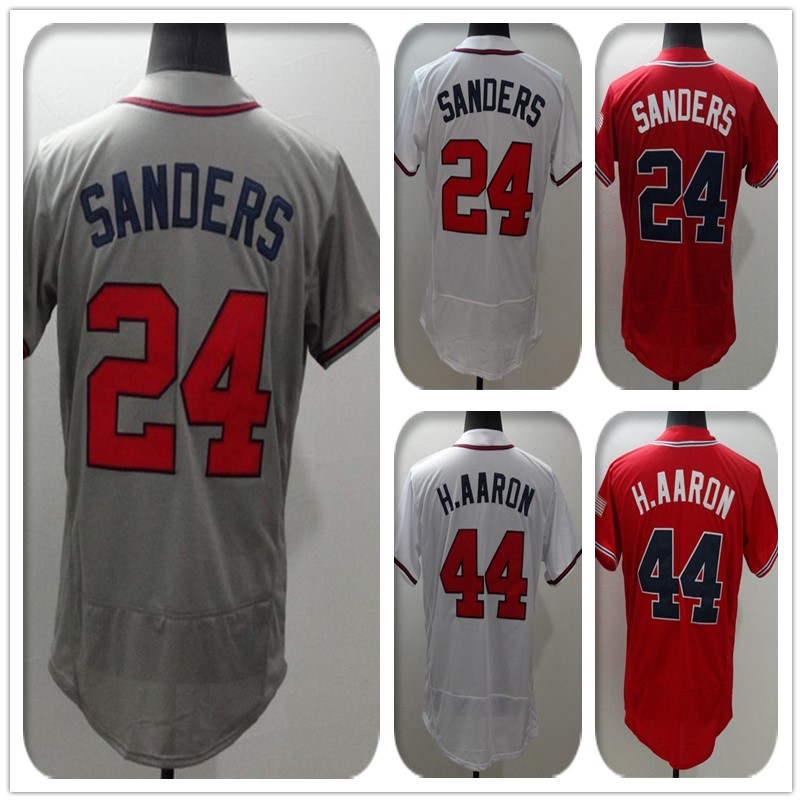 2016 Nuevo Tejido Flexbase Versión #24 Deion Sanders #44 Hank Aaron Jersey Color Rojo Gris Blanco Calor sellado Tagless Camisetas(China (Mainland))