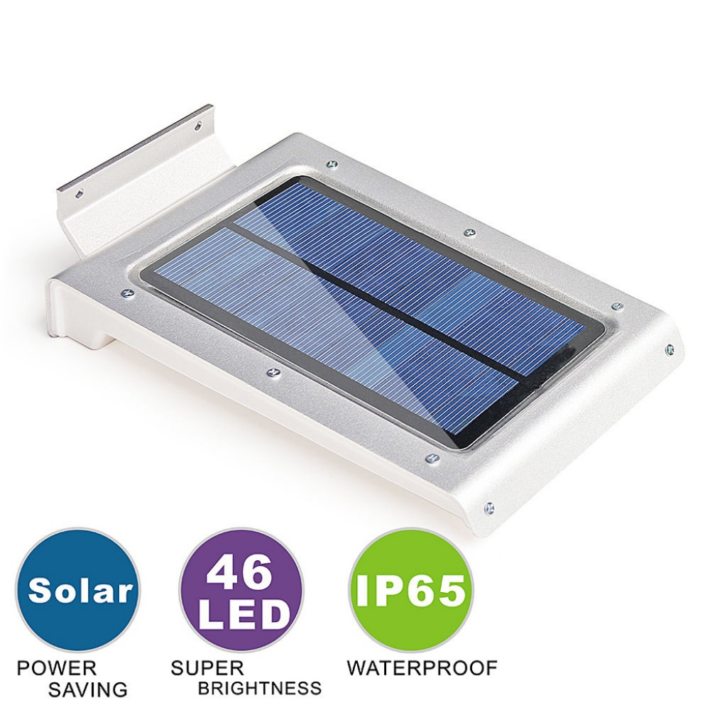 Super Bright 46 LED Outdoor Solar Power Light With PIR Motion Sensor Security