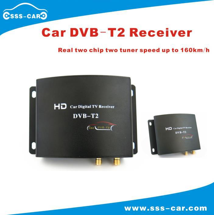 160~180 km/h 2 real tuner dvb t2 car tv receiver USB HDMI for Thailand, Russia, Colombia, Singapore, Indonesia(China (Mainland))