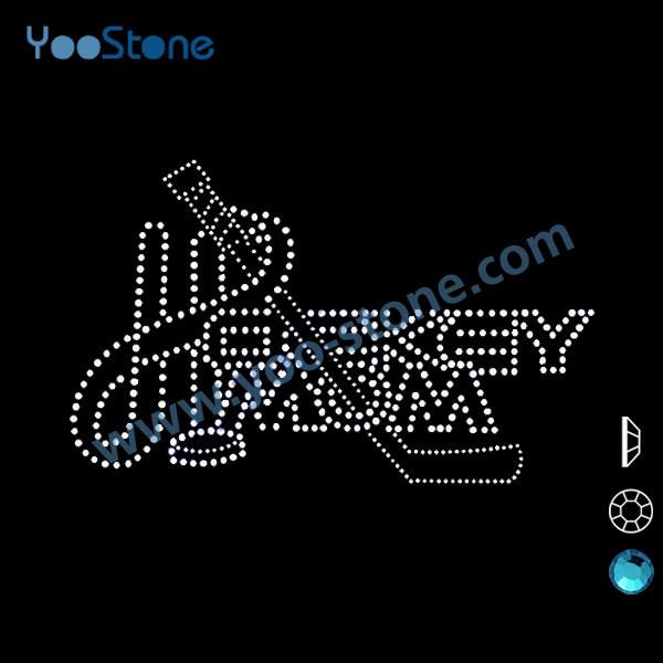 Hotfix Rhinestones Heat Transfer, Dazzling Hockey Mom Rhinestone Design For Garment Accessory 20 Pcs/Lot(China (Mainland))