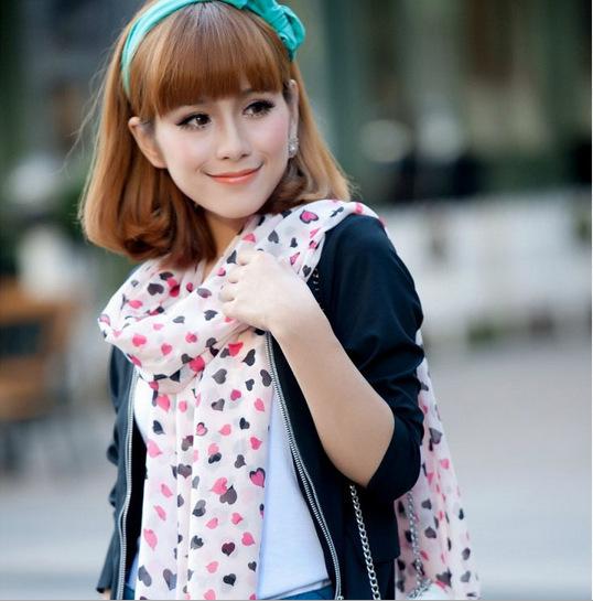 Бесплатная доставка женщины нью-корейский шифон длинный шарф солнцезащитный крем шаль дикая кошка окрас персик сердца сладкие шарфы