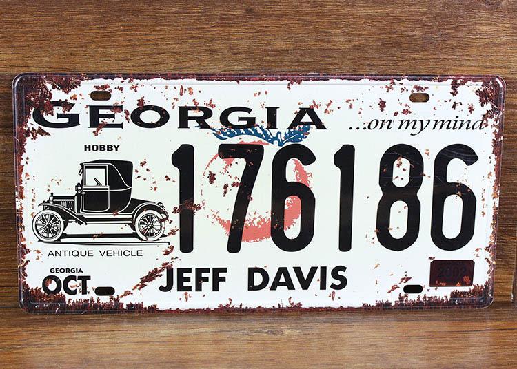 GEORGIA 176186 JEFF DAVIS Vintage License Plates Vintage Art wall decor House Bar Cafe mix order 30*15 CM(China (Mainland))