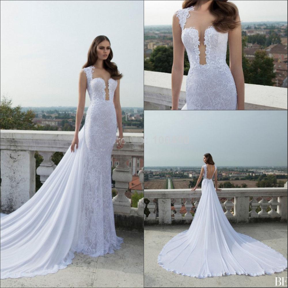 Vestidos de novia white luxury slim lace sheer back for Slim white wedding dresses