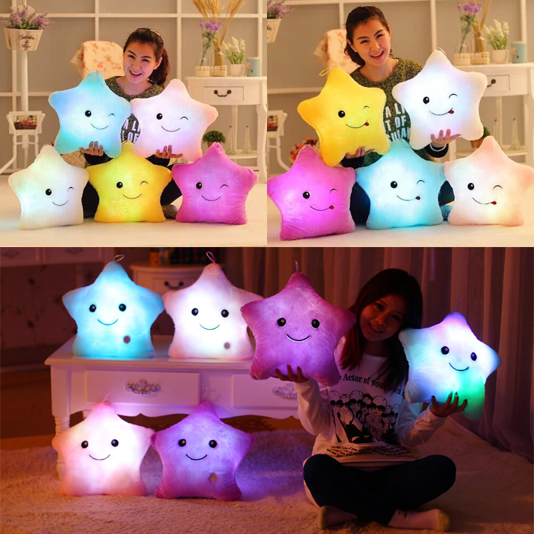 Most Popular Children Christmas Toys LED Light Plush Gift Lucky Star Luminous Pillow SY3002(China (Mainland))