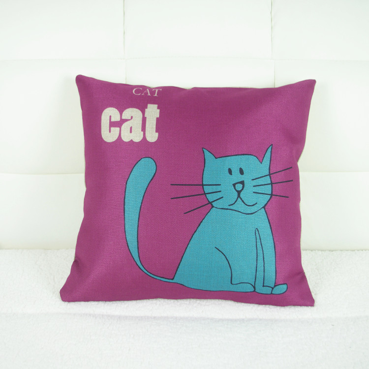 AliExpress Amazon Hot Blue Cat quality linen pillow automotive supplies cushions plans to customize cojines(China (Mainland))