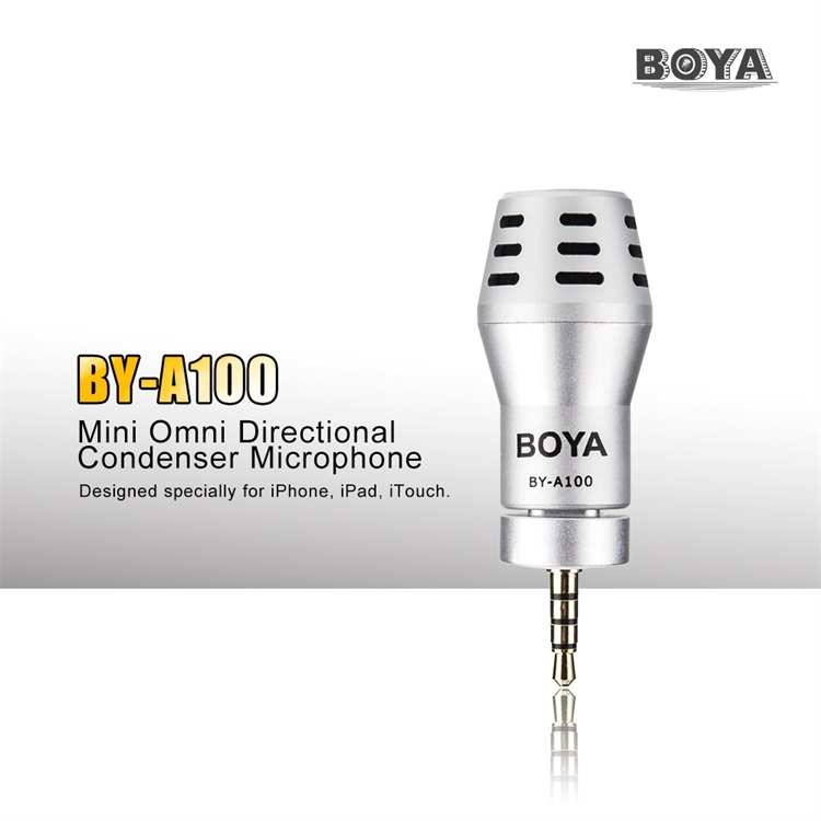 BOYA BY-A100 Mini Omni Directional Condenser Microphone 3.5mm AUX Jack Mic for Iphone 6 6S 6Plus Iphone 5S iPad iPod Touch(China (Mainland))