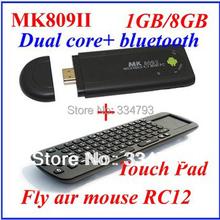 MK809 II+RC12 Android 4.4.2 Mini PC TV Dongle Rockchip RK3066 Cortex A9 Dual core 1GB RAM 8GB Bluetooth MK809II 3D TV Box(China (Mainland))