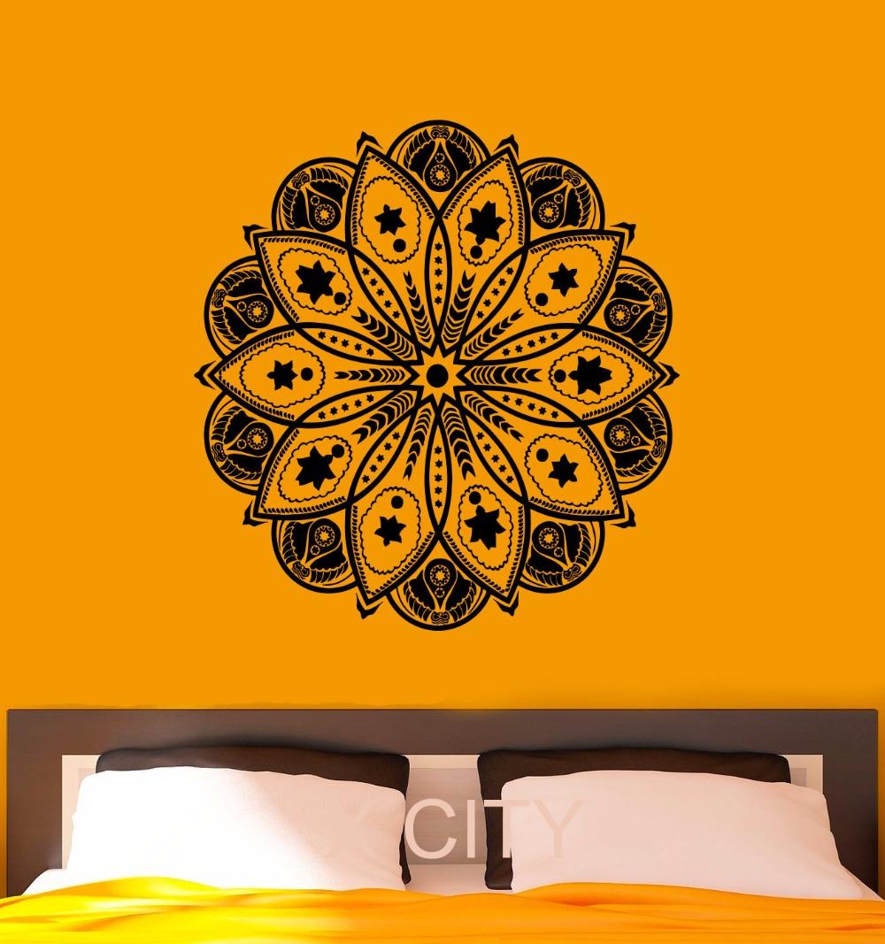 Wall Decal Mandala Indian Pattern Vinyl Stickers Namaste Yoga Home Interior Design Art Murals Office GYM Dorm Bedroom Decor(China (Mainland))