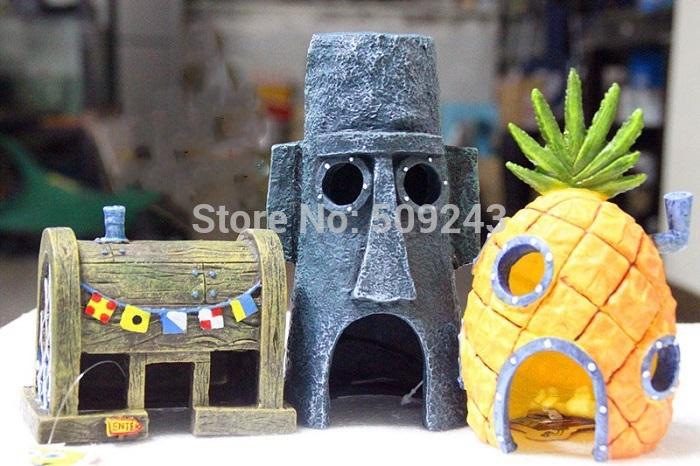 New 2pc set spongebob pineapple house squidward easter for Spongebob fish tank accessories