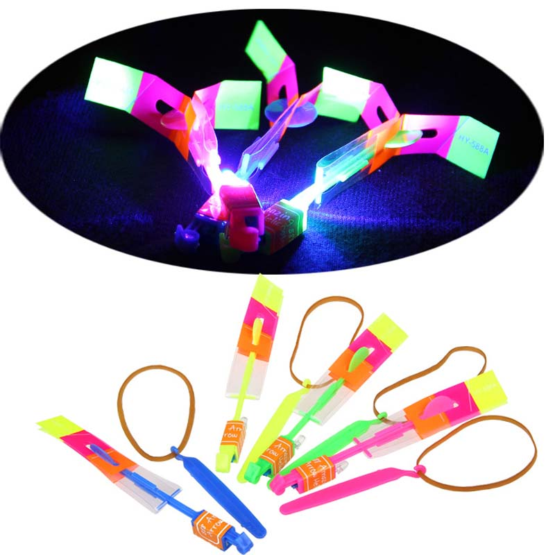 10Pcs/lot Children Toy LED Flier Flyer LED Flying Amazing arrow helicopter Flying Umbrella Kids toys()