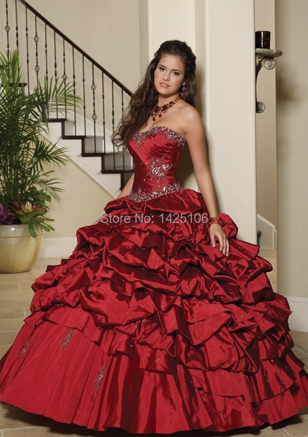 Promotion Best Selling Sweetheart Taffeta Ball Gown Formal Quinceanera Dresses 2016 Custom Made New Arrival(China (Mainland))