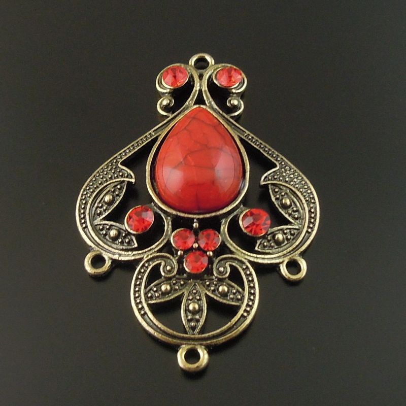 wholesale 4pcs Antique Bronze Alloy Red Imitation gemstones Charms Pendant Jewelry finding Connector 46*35*8mm necklace