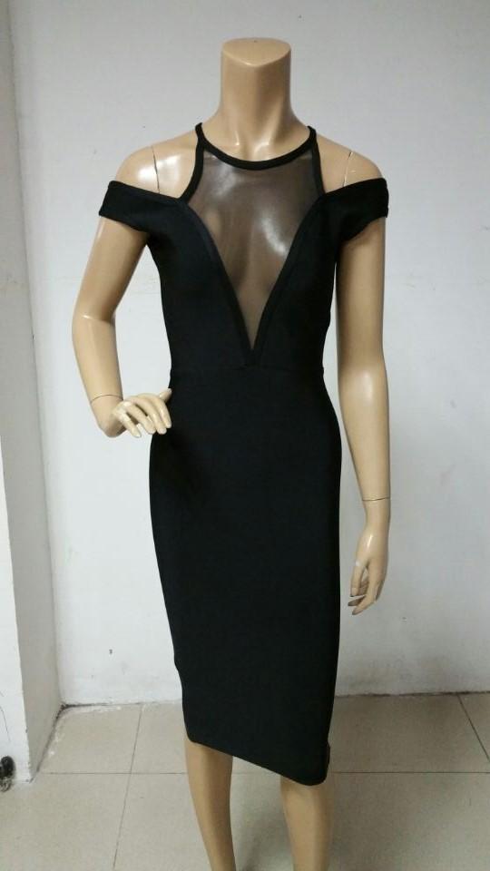 2015-new-fashion-black-mesh-V-neck-off-shoulder-strap-women-fashion-bodycon-sexy-elegant-mini