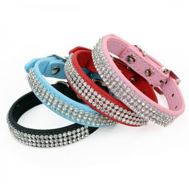 Bling Rhinestone Dog Collars Pet PU Leather Crystal Diamond Puppy Pet Collar Size S/M/L Collars And Leashes For Dog Accessories(China (Mainland))