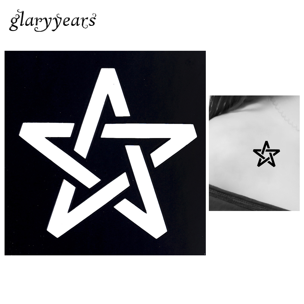1pc Small Henna Indian Tattoo Stencil Line Hollow Star Design Women Arm Body Art Airbrush Painting Waterproof Tattoo Sticker G08