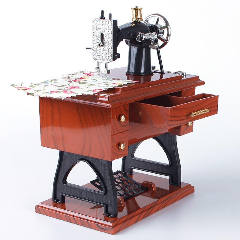 Vintage Mini Sewing Machine Style Mechanical Music Box Charming Style Elegance Sculpt Gift #69242(China (Mainland))