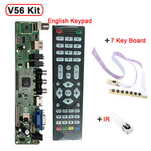 Support 7-55 inch Panel V56 Universal LCD TV Controller Driver Board PC/VGA/HDMI/USB Interface+7 key board+IR set(China (Mainland))
