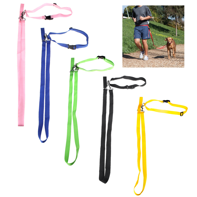 Sport Walking Running Adjustable Hands Free Leash Dog Lead With Waist Belt For Jogging(China (Mainland))