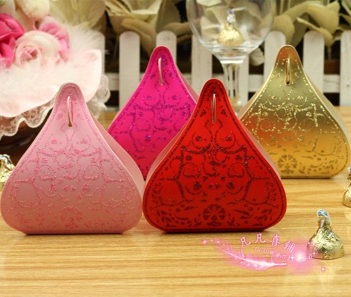 Free Shipping 50Pcs/lot Gold/Red/Pink/Purple/Fuchsia Water Droplet Wedding Candy Box Gift Box Wedding Favor Supply(China (Mainland))