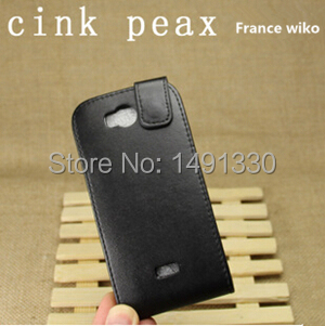 French mobile phone maker brand For WIKO Cink Peax up and down open phone leather phone shell Free Shipping(China (Mainland))