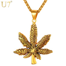 Buy U7 Brand Maple Leaf Charm Necklace Stainless Steel Gold Color Chain & Pendant Men/Women Fashion Jewelry 2017 New P1016 for $5.79 in AliExpress store