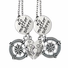 Vintage Mother Daughter No Matter Where Compass Couple Pendants Necklaces 2 Pieces Broken Heart Letter Collier Chain Jewelry(China (Mainland))