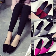 Women Flats Summer Style Casual Solid Pointed Toe Slip-On Flat Shoes Soft Comfortable Women Shoes Plus Pointed Flat Single Shoes