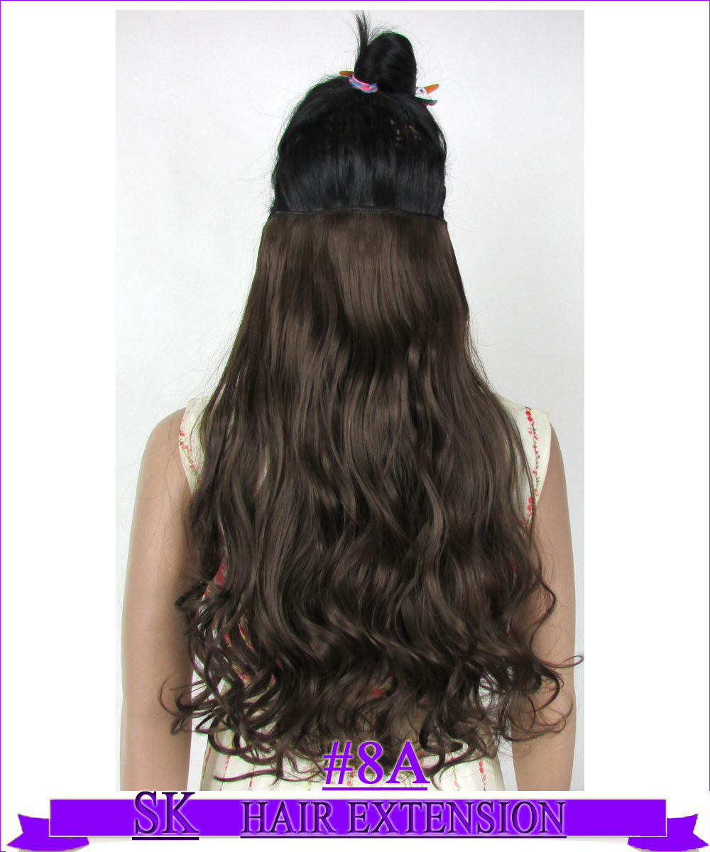 24 (60cm) 120g Curly hair piece no shiny hot resistant fiber clip in hair extensions Color #8A Medium Ash Brown<br><br>Aliexpress