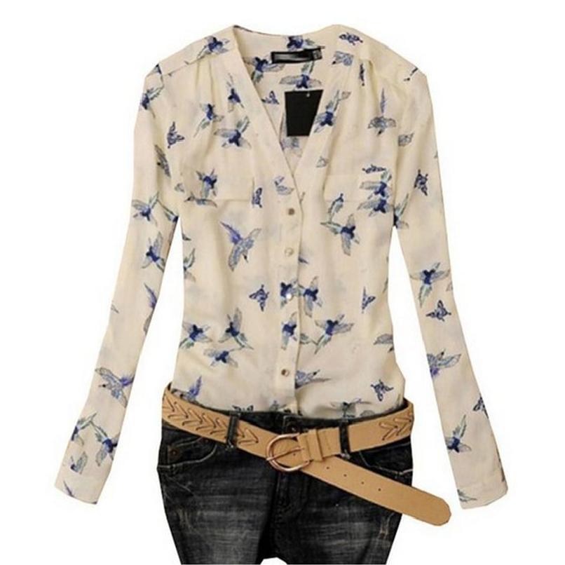 Attractive Women's Fashion Elegant Bird Print Blouse Long Sleeve Casual Slim Shirts JY3(China (Mainland))