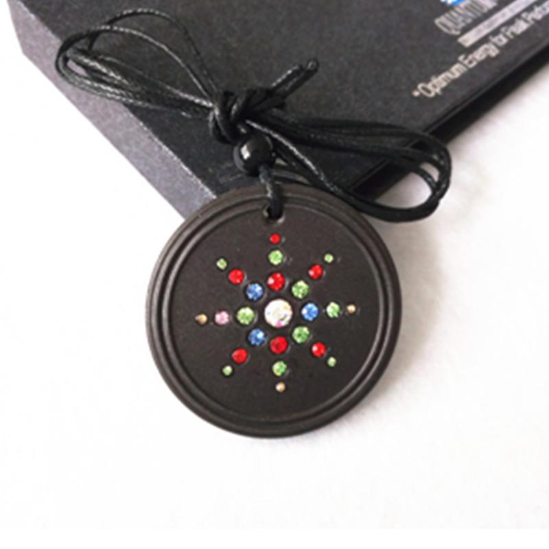 Quantum Energy Pendants Round Volcanic Lava Stone with Colorful CZ Diamond Fashion Jewelry 2pcs/lot(China (Mainland))