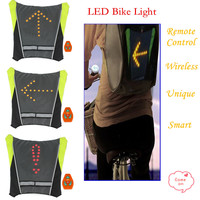 New 2015 Bicycle Light With Remote Control Bicycle Accessories LED Bicycle Rear Light Backpack Green Blue M01 Free Shipping