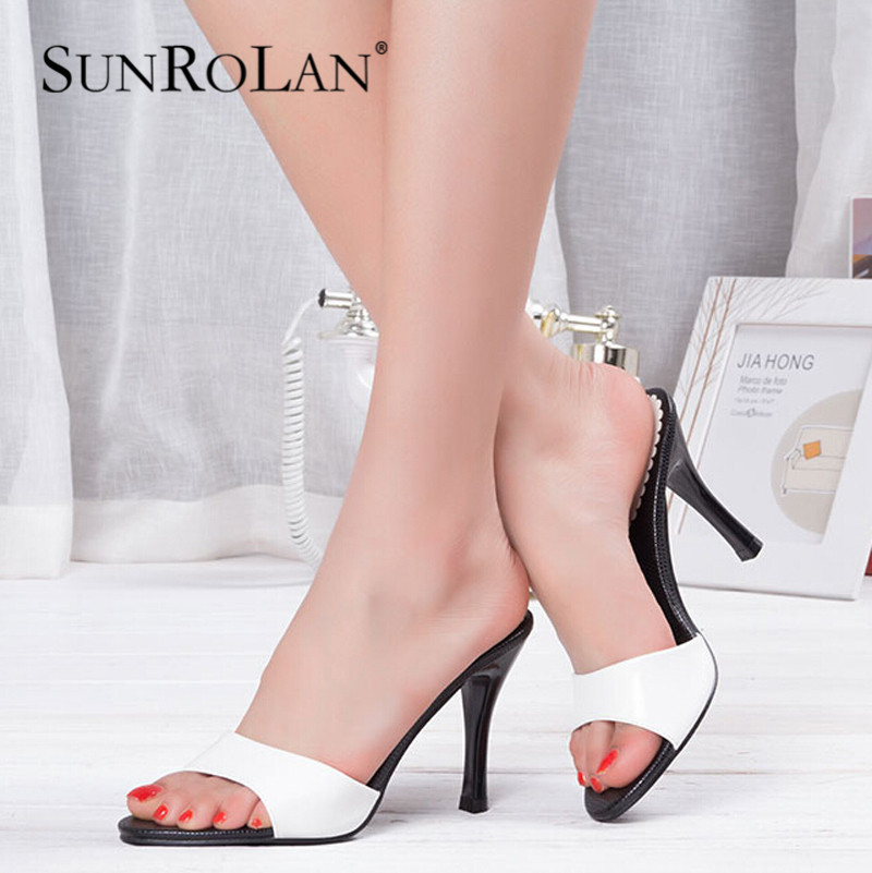 2015 summer genuine leather high heel slippers female thin heels sandals open toe sexy women OL elegant shoes 05131<br><br>Aliexpress