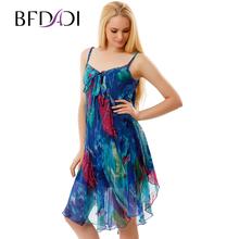 BFDADI 2017 Новое Лето Женщины Цветочные рукавов Ремень Dress Свободный Mini Dress Пляж Плиссированные Платья 7008(China (Mainland))