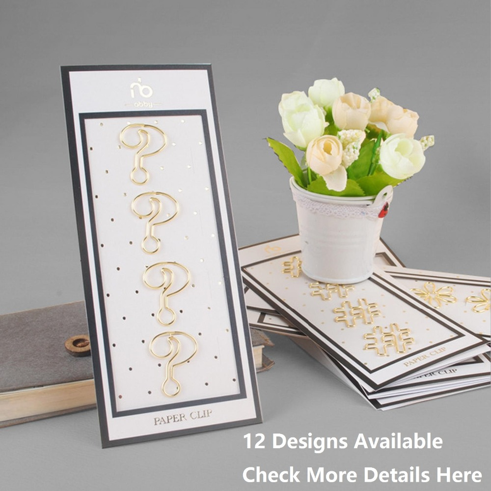 12 Designs 4 pcs/lot Beautiful Fashion Golden Finished Sharp Paper Clips Notebook Accessories for Organizer Planner Page(China (Mainland))